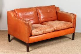 børge mogensen mid century leather loveseat burnt orange leather