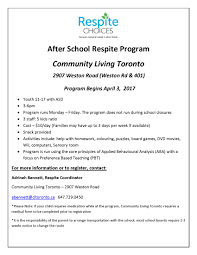 Resume Sle After School Program after school respite program weston rd 401 community living