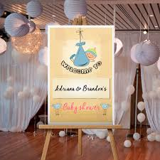 baby boy hanging welcome sign for baby shower personalized