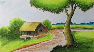 easy landscape sketches with color colour pencil drawing landscape