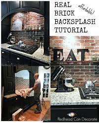 DIY Brick Backsplash Redhead Can Decorate - Backsplash brick