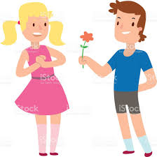 cartoon romantic boy and giving a flower for love stock