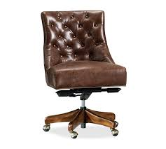 Small Leather Desk Chair Tufted Leather Swivel Desk Chair Pottery Barn