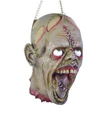 halloween gory props hanging dead head with stitches horror prop decoration
