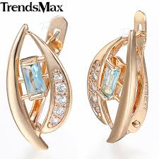 womens stud earrings trendsmax cut out leaf light blue cz womens stud earrings