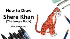 how to draw and color shere khan from the jungle book with