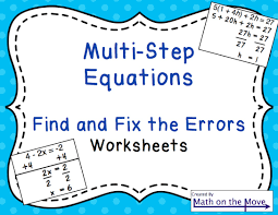 multi step equations find and fix the errors worksheet