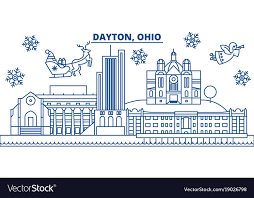 usa ohio dayton winter city skyline merry vector image