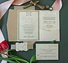 wedding invitation bundles chagne blush gold glitter invitation package