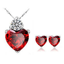 red big necklace images White gold color red stone big cz cute heart pendant chain jpg