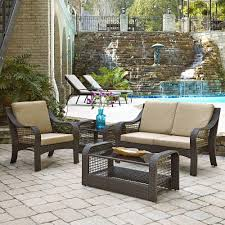 4 piece patio furniture sets home styles lanai breeze deep brown 4 piece woven love seat patio