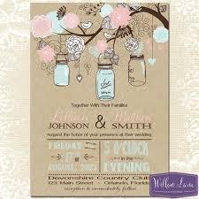 jar invitations jar wedding invitation kraft pink and blue jar