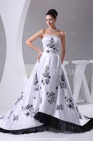 black and white wedding dresses black white strapless puddle satin church a line wedding