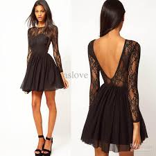 sale charming backless long sleeves lace chiffon a line short