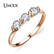 ladies rings jewellery images Umode rose gold color 0 25ct 3 pieces zirconia aneis feminino jpg