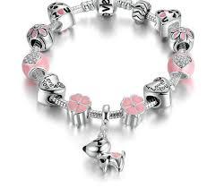 pink heart bracelet images Pink heart flower charm bracelet jpg