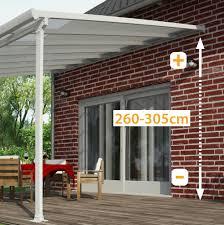modele de terrasse couverte toit de terrasse en alu blanc et polycarbonate 8mm 500x300cm patio