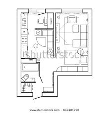 top view floor plan architecture plan furniture house floor plan stock vector 642401296