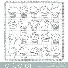 cupcakes coloring page for adults pdf jpg instant download