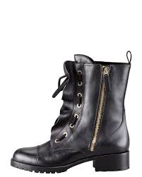 lace up motorcycle boots valentino ruffled laceup biker boot in black lyst