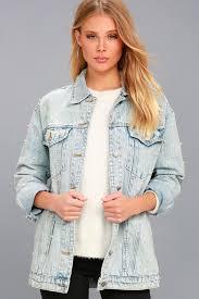 light distressed denim jacket trendy denim jacket distressed jacket pearl jacket
