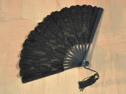 black lace fan battenburg lace fan