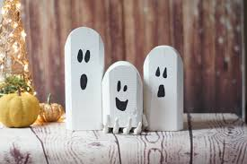 Mini Halloween Ornaments by Reclaimed Wood Ghosts Rustic Halloween Decor Primitive