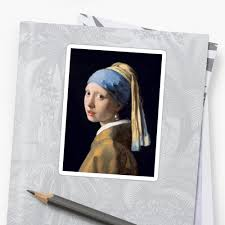 pearl earring painting the girl with the pearl earring classic painting stickers by