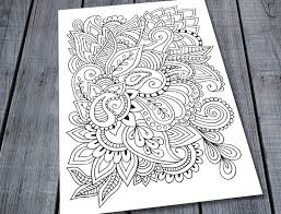 paisley doodle colouring page printable pattern colouring