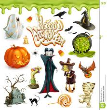 halloween 3d vector icons pumpkin ghost spider witch vampire