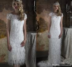 two piece feather wedding dresses with greek goddess style