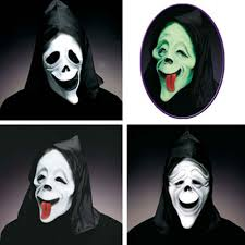 horror mask scream funny joke glow in the dark black white humor
