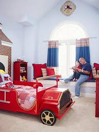 bright kids bedroom design with red fire truck bed dweef com