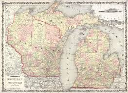 Maps Wisconsin by File 1862 Johnson Map Of Wisconsin And Michigan Geographicus