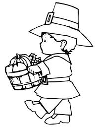 pilgrim indian thanksgiving coloring pages children