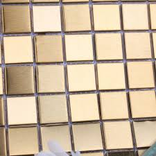 Mosaic Tile Gold Square Aluminum Metal Wall Decoration Kitchen - Square tile backsplash