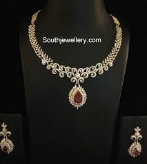 simple diamond sets 3 simple and diamond necklace sets jewellery designs