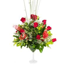 Martini Glass Vase Flower Arrangement 12 Red Roses In Martini Glass Vase