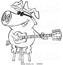 vector of a cartoon blues pig musician playing a guitar outlined