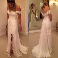 simple wedding dresses for brides shoulder side split lace simple cheap brides wedding