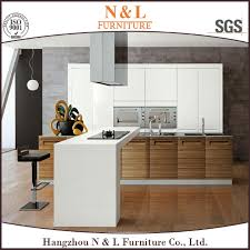 china white lacquer and wood veneer modern kitchen cabinet set