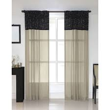 Black Sheer Curtains Softline Bay Scroll Embroidered Rod Pocket Sheer Curtain Panel