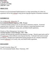 Inspector Resume Sample by Example Of Environmental Health Inspector Resume Http