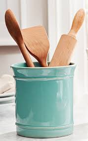 kitchen utensil canister turquoise cambria utensil crock i want that