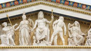 greek mythology statues statues of ancient greek gods at academy of athens greece s stock