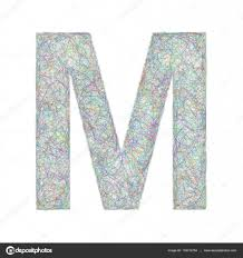 colorful sketch font design letter m u2014 stock vector davidzydd