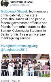 stella dimoko korkus edo state gov obaseki holds thanksgiving