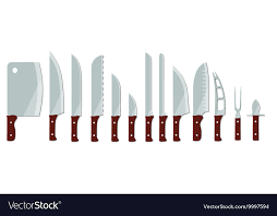 different types of kitchen knives different types of kitchen knives royalty free vector image
