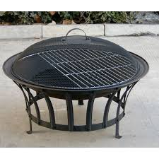 Firepits Uk 27 Diameter Steel Pit With Bbq Grill Mesh Lid Cover