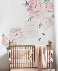 peony flowers wall sticker watercolor peony wall stickers peel wall sticker peony sticker for nursery